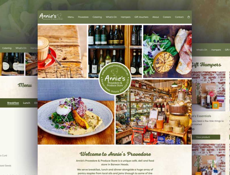Annie's Provedore Web design & development